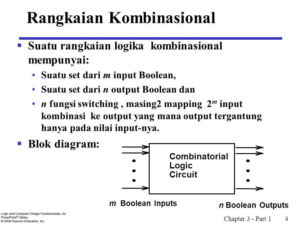 Chapter 3 - Part 1 4 Rangkaian Kombinasional  Suatu rangkaian logika kombinasional mempunyai: Suatu set dari m input Boolean, Suatu set dari n output Boolean dan n fungsi switching, masing2 mapping 2 m input kombinasi ke output yang mana output tergantung hanya pada nilai input-nya.