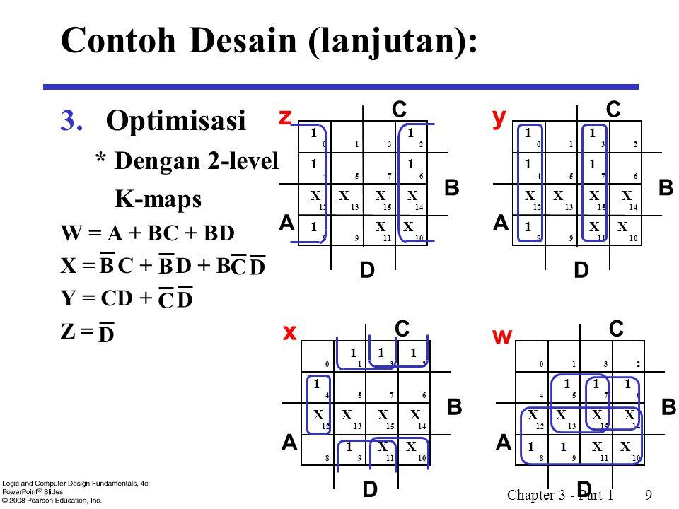 Chapter 3 - Part 1 10 3.Optimisasi (lanjutan) b.Multiple-level menggunakan transformasi W = A + BC + BD X = C + D + B Y = CD + Z = G = 7 + 10 + 6 + 0 = 23 Dilakukan ekstraksi, pencarian faktor: T 1 = C + D W = A + BT 1 X = T 1 + B Y = CD + Z = G = 2 + 4 + 7 + 6 + 0 = 19 B C DB C D D B C D C D D Contoh Desain (lanjutan):