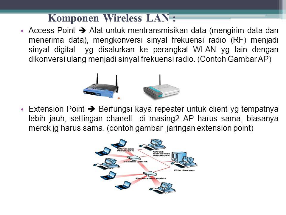 Komponen Wireless LAN : Access Point  Alat untuk mentransmisikan data (mengirim data dan menerima data), mengkonversi sinyal frekuensi radio (RF) menjadi sinyal digital yg disalurkan ke perangkat WLAN yg lain dengan dikonversi ulang menjadi sinyal frekuensi radio.