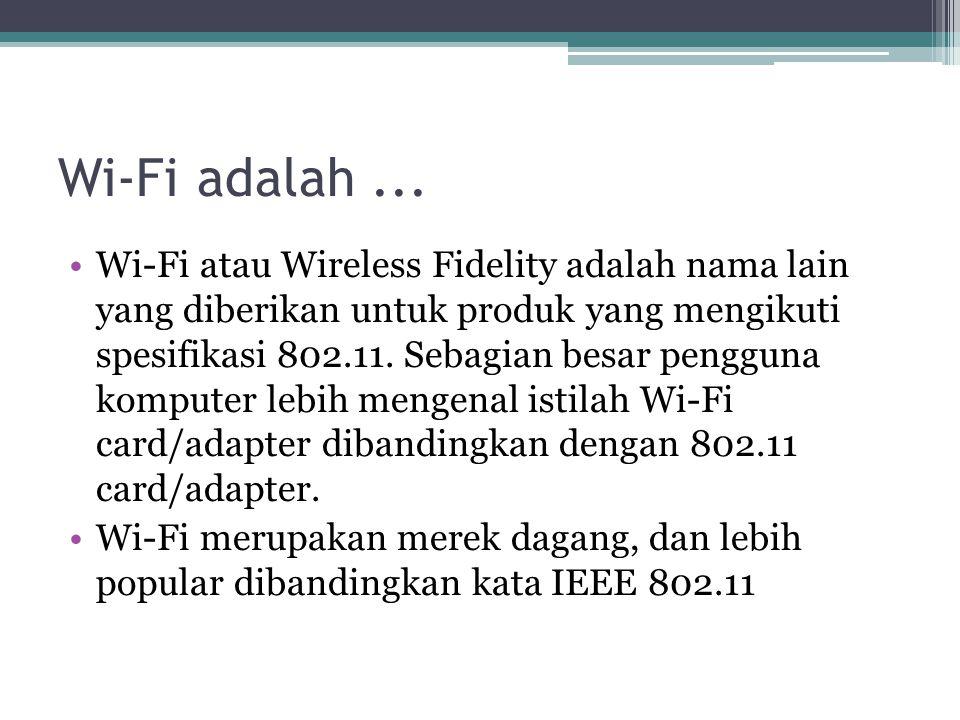 Standard Wireless LAN Standart IEEE 802.11 IEEE 802.11 mencakup: 802.11a, frek.