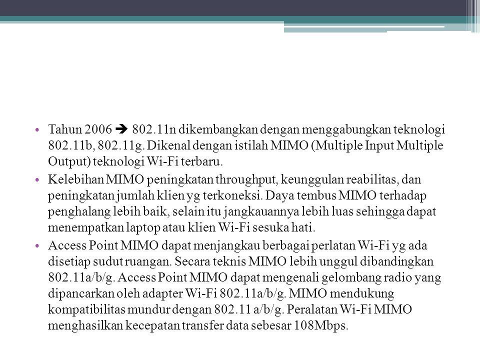 Tabel kanal Frekuensi IEEE 802.11b/g ChannelFrekuensiChannelFrekuensi 12412 MHz82447 MHz 22417 MHz92452 MHz 32422 MHz102457 MHz 42427 MHz112462 MHz 52432 MHz122467 MHz 62437 MHz132472 MHz 72442 MHz142484 MHz