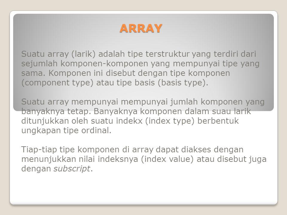 ARRAY BERDIMENSI SATU Jenis Array yang paling sederhana adalah array berdimensi satu.
