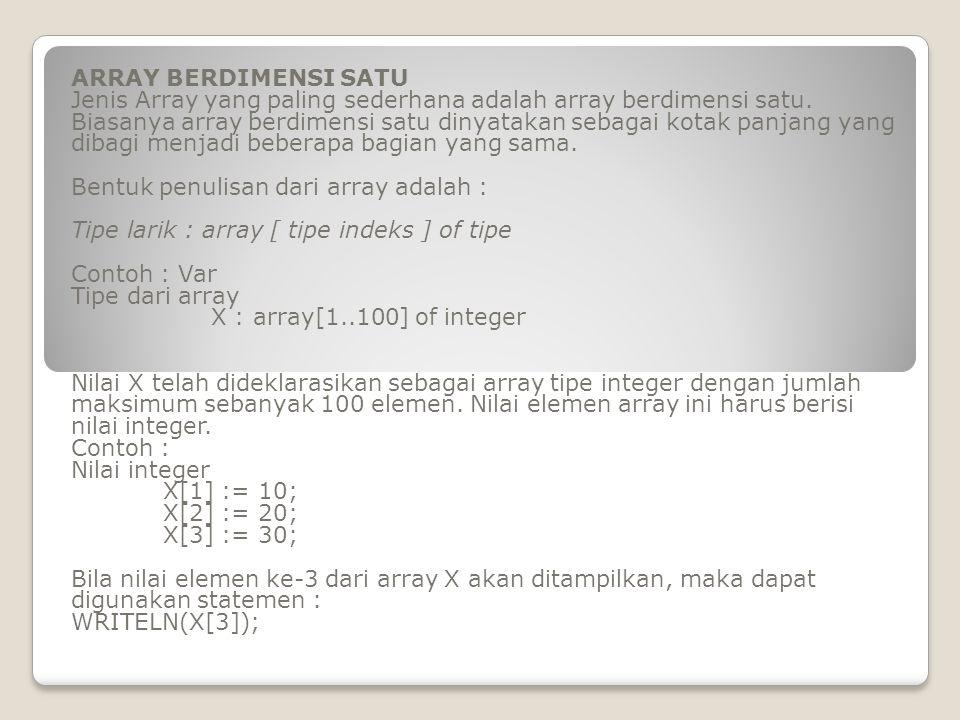 ARRAY BERDIMENSI SATU Jenis Array yang paling sederhana adalah array berdimensi satu. Biasanya array berdimensi satu dinyatakan sebagai kotak panjang