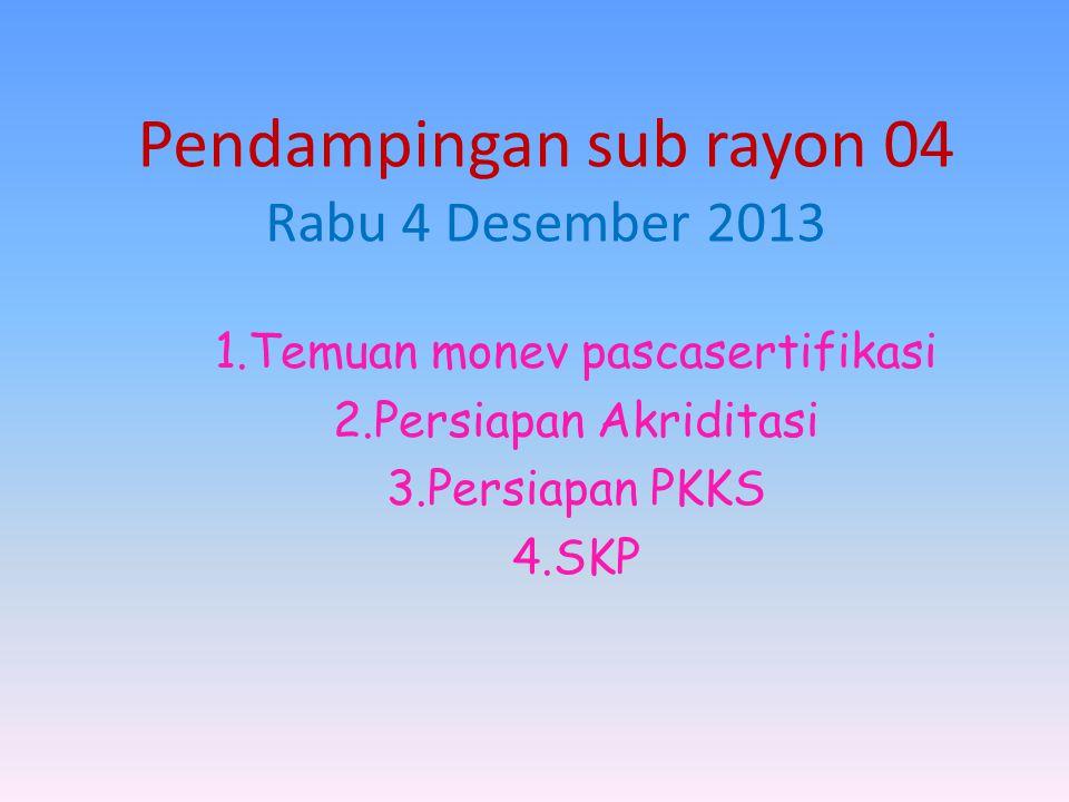 Pendampingan sub rayon 04 Rabu 4 Desember 2013 1.Temuan monev pascasertifikasi 2.Persiapan Akriditasi 3.Persiapan PKKS 4.SKP