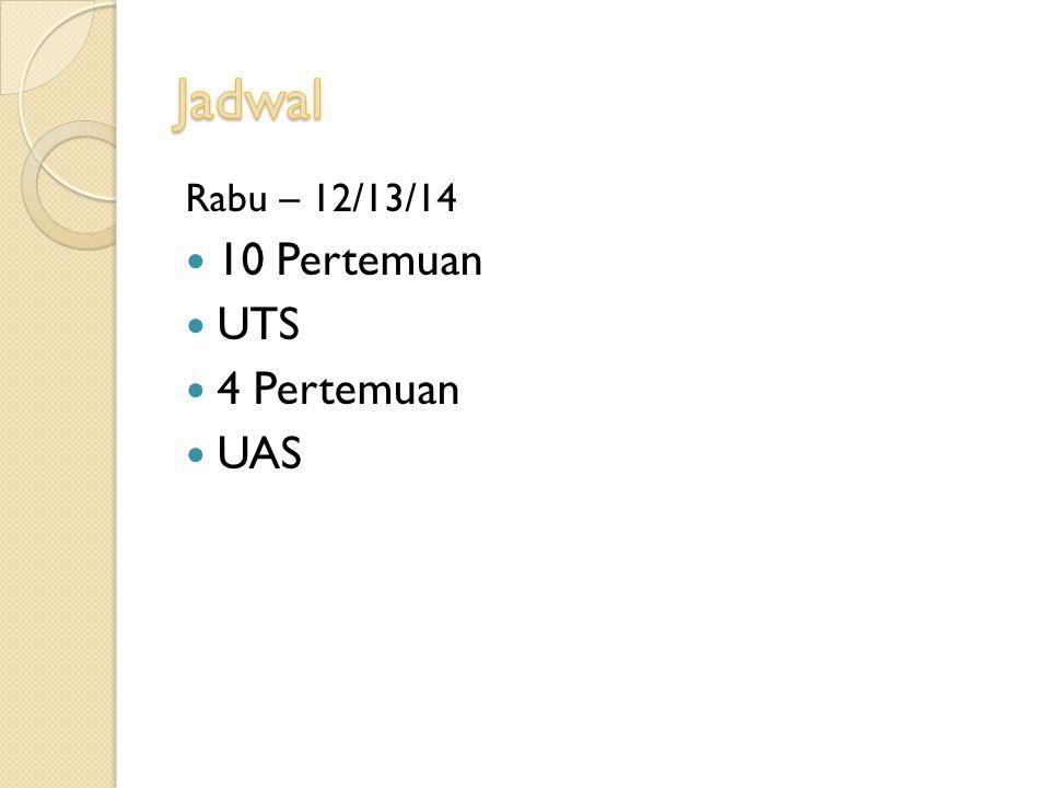 Rabu – 12/13/14 10 Pertemuan UTS 4 Pertemuan UAS