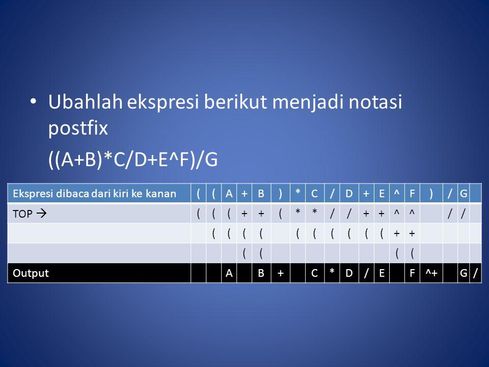 Ubahlah ekspresi berikut menjadi notasi postfix ((A+B)*C/D+E^F)/G Ekspresi dibaca dari kiri ke kanan((A+B)*C/D+E^F)/G TOP  (((++(**//++^^// ((((((((((++ (((( OutputAB+C*D/EF^+G/