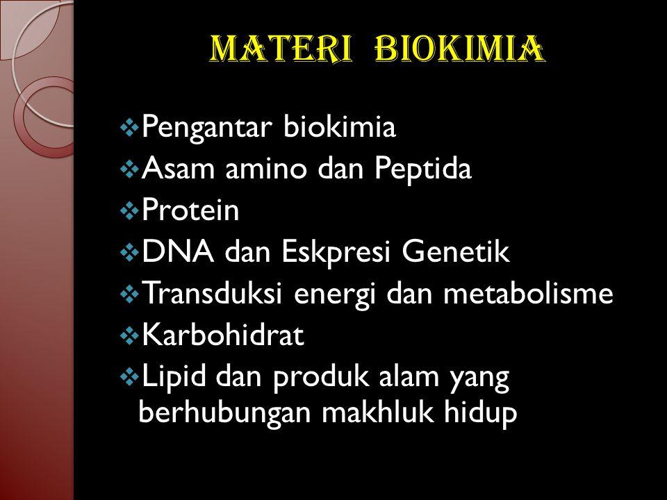 Materi Biokimia PPengantar biokimia AAsam amino dan Peptida PProtein DDNA dan Eskpresi Genetik TTransduksi energi dan metabolisme KKarbohidrat LLipid dan produk alam yang berhubungan makhluk hidup