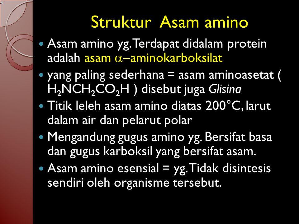 Materi asam amino dan peptida 1. Struktur asam amino 2. Peptida 3. Beberapa peptida yang menarik 4. Biosintesis peptida 5. Klasifikasi protein 6. Stru