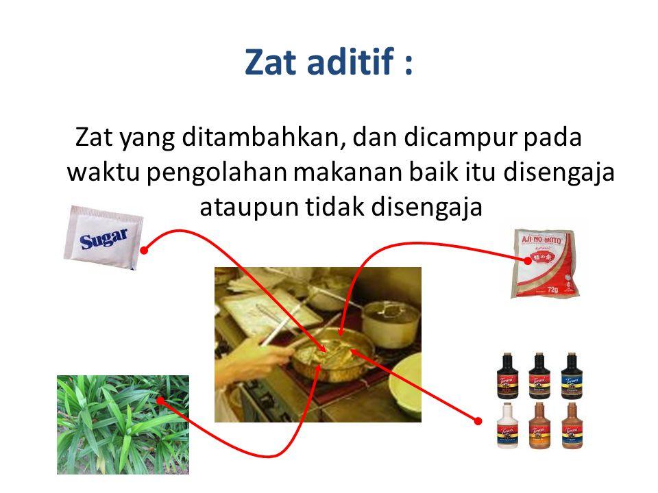 Fungsi zat aditif makanan : 1.Memperbaiki tampilan 2.Meningkatkan cita rasa 3.Memperkaya kandungan gizi 4.Mengawetkan (tidak cepat busuk)