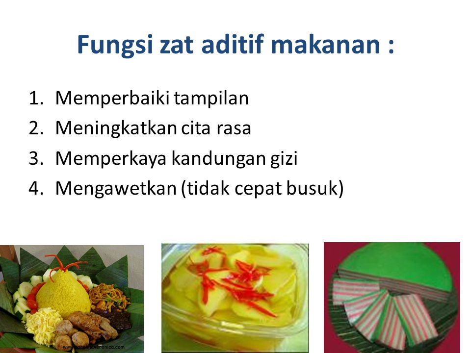 Pengelompokan Zat aditif berdasarkan asalnya : 1.Zat aditif alami : berasal dari sumber alami 2.Zat aditif sintetik : berasal dari bahan-bahan kimia (buatan pabrik)