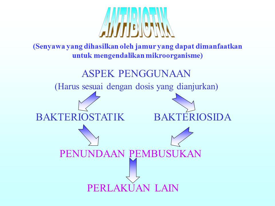 (Senyawa yang dihasilkan oleh jamur yang dapat dimanfaatkan untuk mengendalikan mikroorganisme) ASPEK PENGGUNAAN (Harus sesuai dengan dosis yang dianjurkan) BAKTERIOSTATIKBAKTERIOSIDA PENUNDAAN PEMBUSUKAN PERLAKUAN LAIN