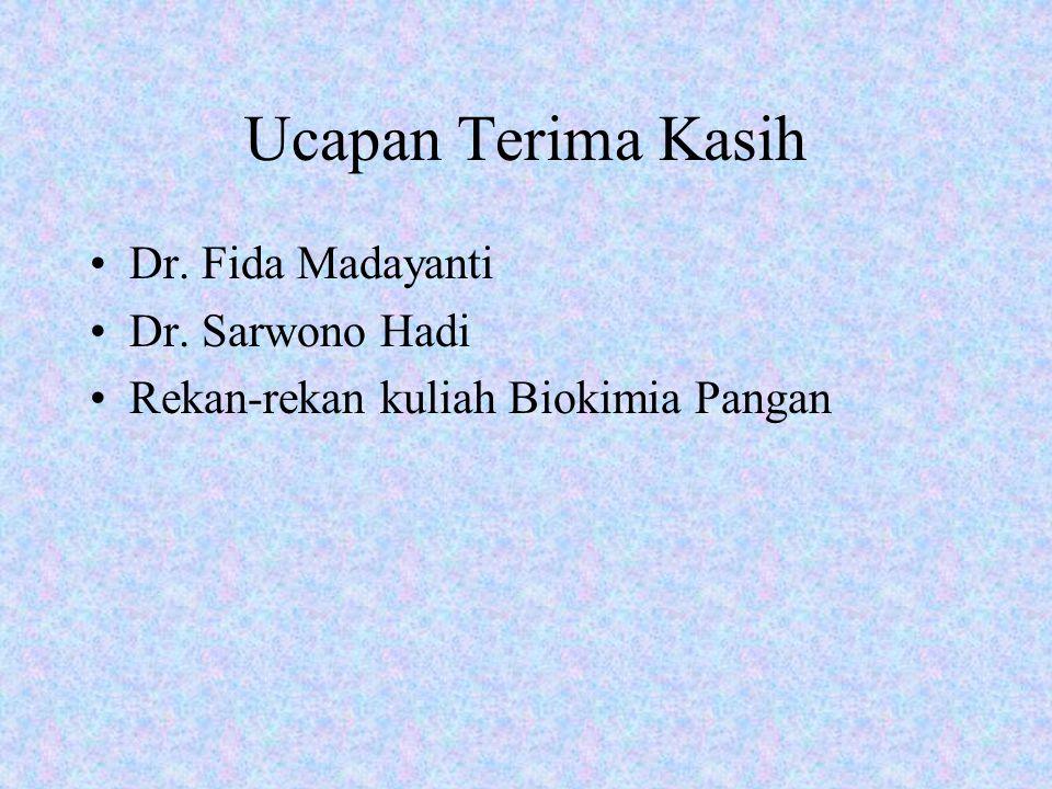 Ucapan Terima Kasih Dr. Fida Madayanti Dr. Sarwono Hadi Rekan-rekan kuliah Biokimia Pangan