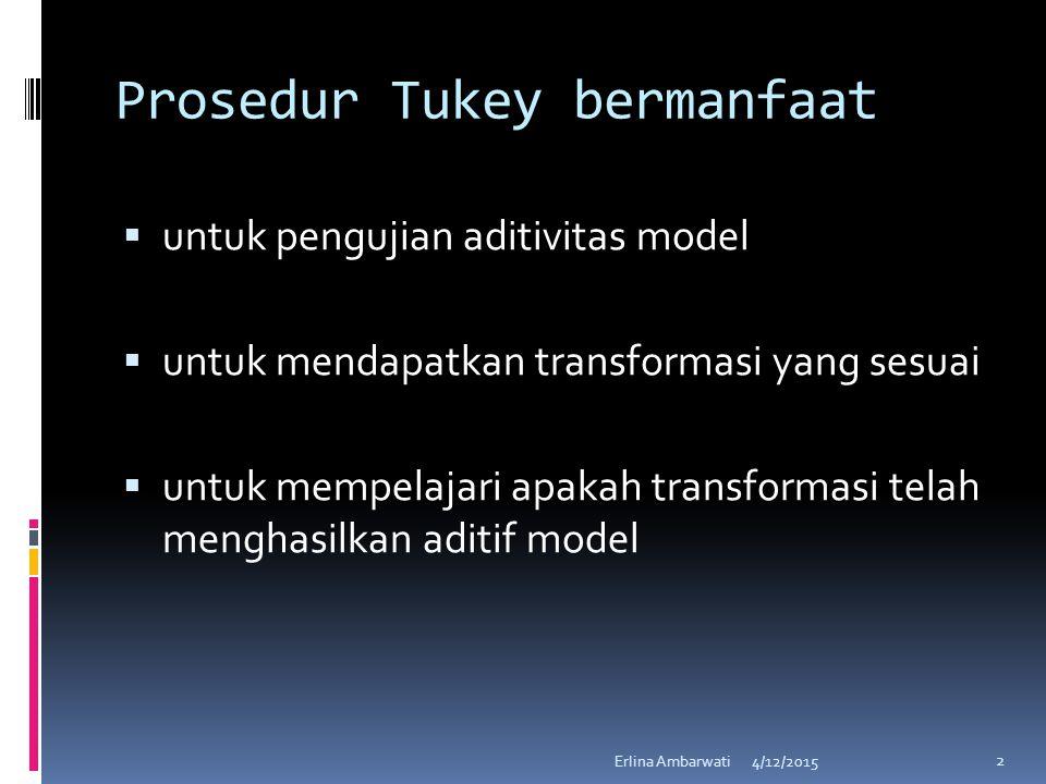 Prosedur Tukey bermanfaat  untuk pengujian aditivitas model  untuk mendapatkan transformasi yang sesuai  untuk mempelajari apakah transformasi tela