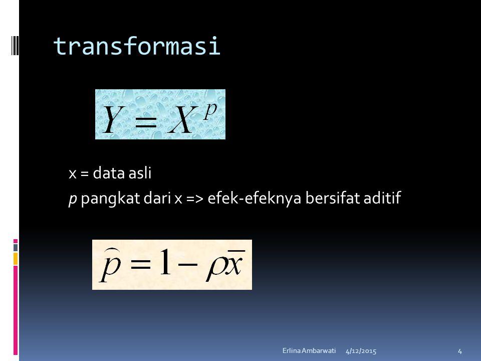 transformasi x = data asli p pangkat dari x => efek-efeknya bersifat aditif 4/12/2015Erlina Ambarwati 4
