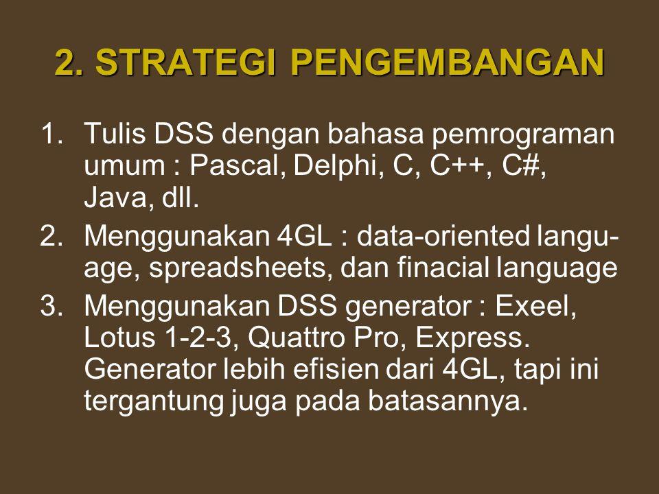 2. STRATEGI PENGEMBANGAN 1.Tulis DSS dengan bahasa pemrograman umum : Pascal, Delphi, C, C++, C#, Java, dll. 2.Menggunakan 4GL : data-oriented langu-