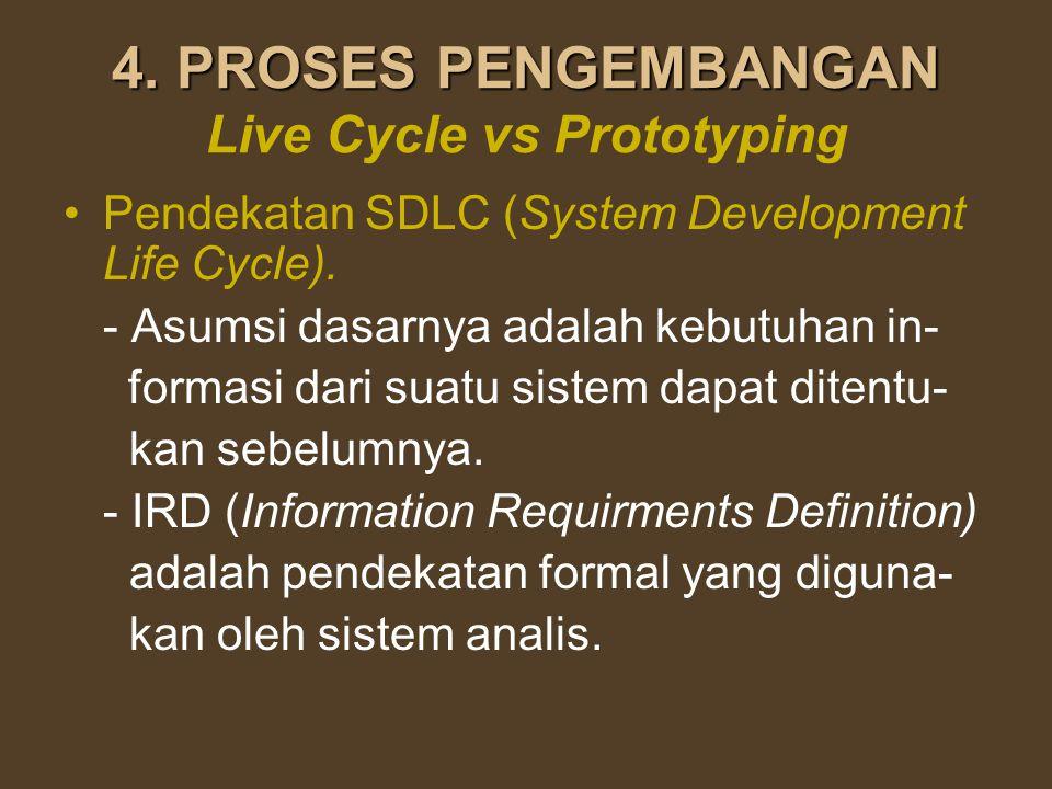 4. PROSES PENGEMBANGAN 4. PROSES PENGEMBANGAN Live Cycle vs Prototyping Pendekatan SDLC (System Development Life Cycle). - Asumsi dasarnya adalah kebu