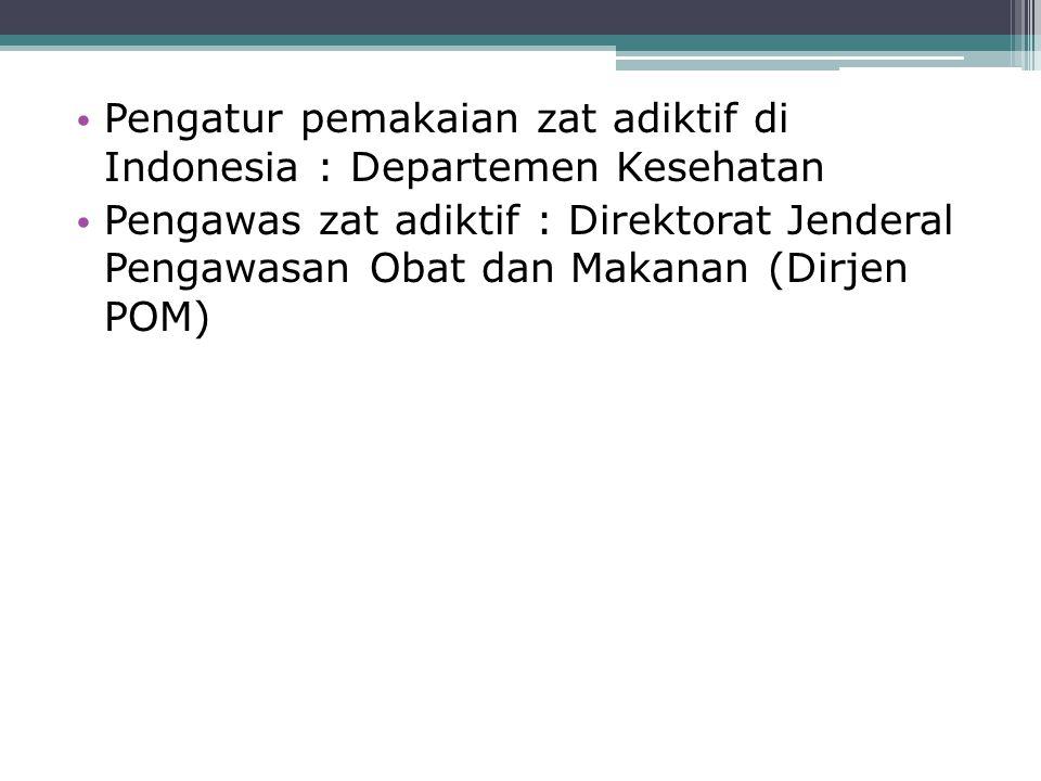 Pengatur pemakaian zat adiktif di Indonesia : Departemen Kesehatan Pengawas zat adiktif : Direktorat Jenderal Pengawasan Obat dan Makanan (Dirjen POM)