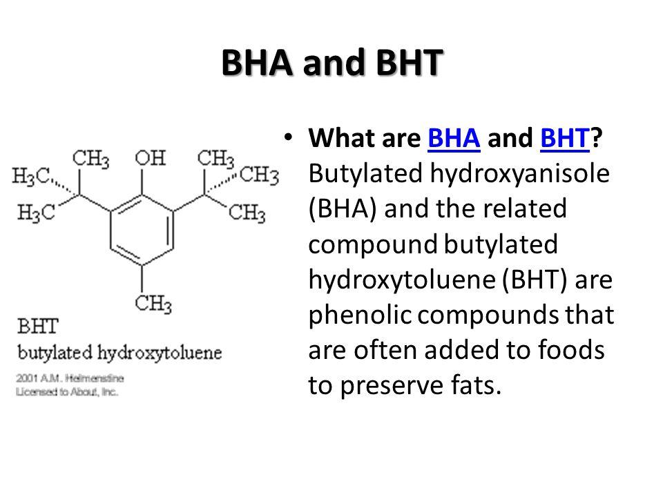 Antioksidan Beberapa contoh antioksidan sintetik yang diijinkan penggunaanya untuk makanan dan penggunaannya telah sering digunakan, yaitu butil hidroksi anisol (BHA), butil hidroksi toluen (BHT), propil galat, tert-butil hidoksi quinon (TBHQ) dan tokoferol.
