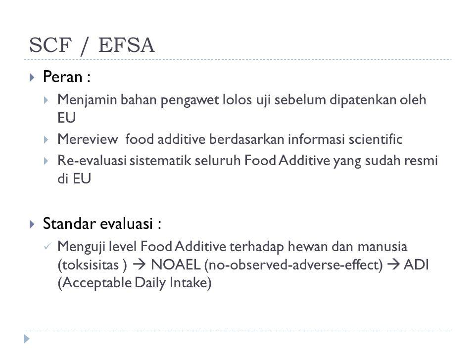 SCF / EFSA  Peran :  Menjamin bahan pengawet lolos uji sebelum dipatenkan oleh EU  Mereview food additive berdasarkan informasi scientific  Re-eva