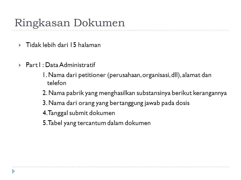 Ringkasan Dokumen  Tidak lebih dari 15 halaman  Part I : Data Administratif 1. Nama dari petitioner (perusahaan, organisasi, dll), alamat dan telefo