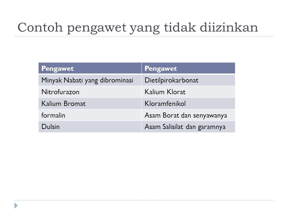 Contoh pengawet yang tidak diizinkan Pengawet Minyak Nabati yang dibrominasiDietilpirokarbonat NitrofurazonKalium Klorat Kalium BromatKloramfenikol fo