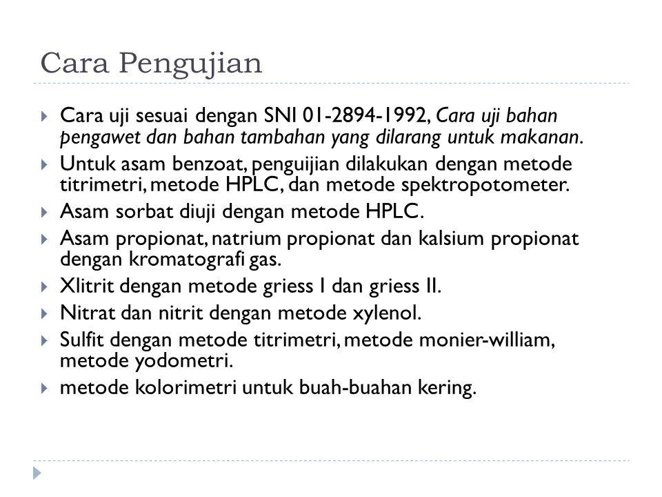 Cara Pengujian  Cara uji sesuai dengan SNI 01-2894-1992, Cara uji bahan pengawet dan bahan tambahan yang dilarang untuk makanan.  Untuk asam benzoat