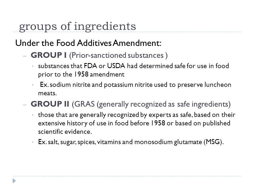 Peraturan Indonesia  Peraturan Menteri Kesehatan Nomor 722 Tahun 1988 tentang Bahan Tambahan Makanan, yang hanya menyatakan bahwa pemakaian MSG secukupnya—belum tegas ditentukan kadarnya.