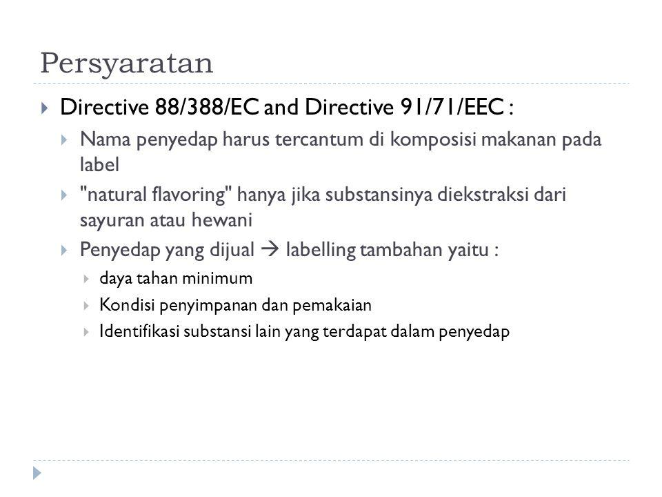 Persyaratan  Directive 88/388/EC and Directive 91/71/EEC :  Nama penyedap harus tercantum di komposisi makanan pada label 