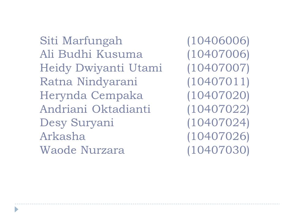 Siti Marfungah (10406006) Ali Budhi Kusuma(10407006) Heidy Dwiyanti Utami (10407007) Ratna Nindyarani (10407011) Herynda Cempaka(10407020) Andriani Ok