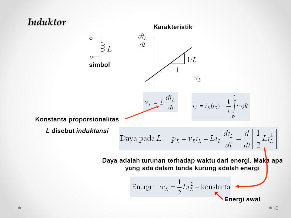 Induktor simbol L Konstanta proporsionalitas L disebut induktansi Daya adalah turunan terhadap waktu dari energi. Maka apa yang ada dalam tanda kurung