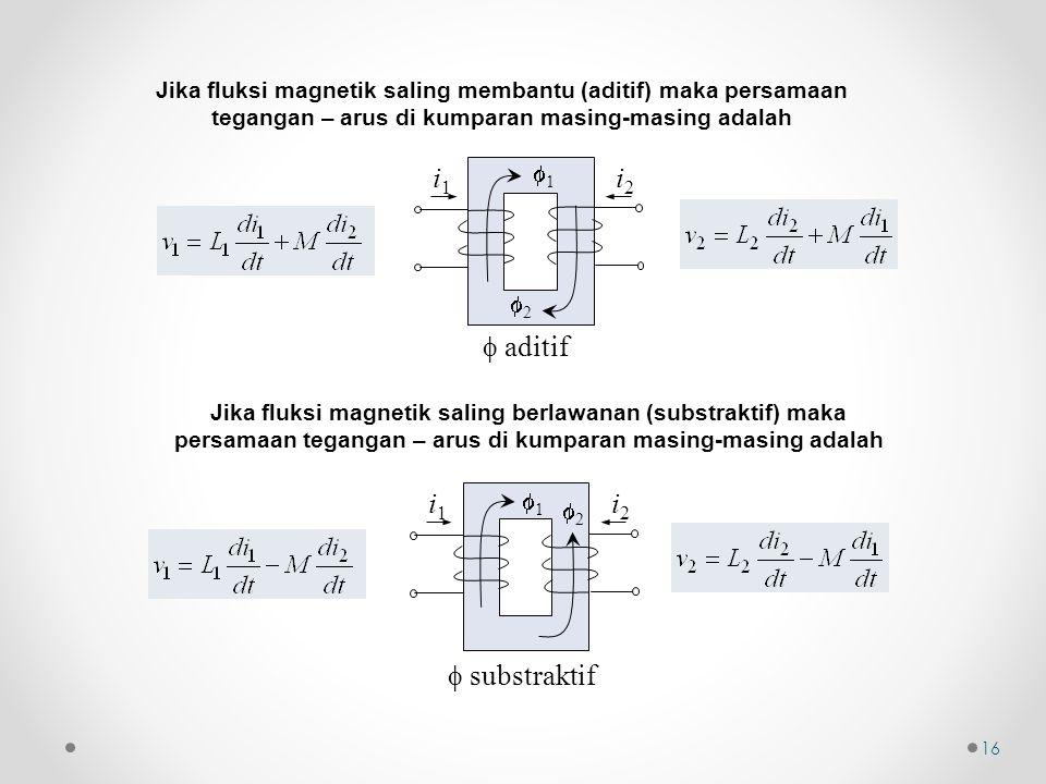 16 Jika fluksi magnetik saling membantu (aditif) maka persamaan tegangan – arus di kumparan masing-masing adalah  aditif 11 i1i1 i2i2 22 Jika flu