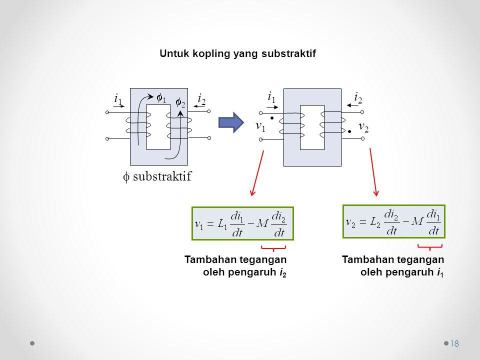 18  substraktif 11 i1i1 i2i2 22 i1i1 i2i2 v1v1 v2v2 Untuk kopling yang substraktif Tambahan tegangan oleh pengaruh i 2 Tambahan tegangan oleh pen