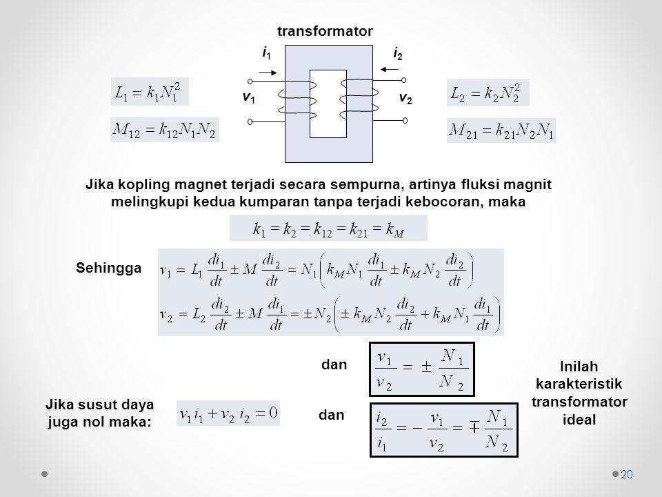 Jika kopling magnet terjadi secara sempurna, artinya fluksi magnit melingkupi kedua kumparan tanpa terjadi kebocoran, maka k 1 = k 2 = k 12 = k 21 = k