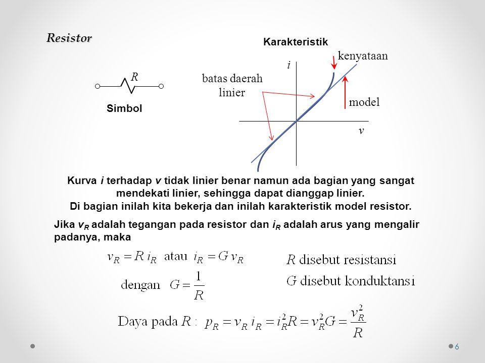 Resistor Simbol R kenyataan i v Karakteristik Kurva i terhadap v tidak linier benar namun ada bagian yang sangat mendekati linier, sehingga dapat dian