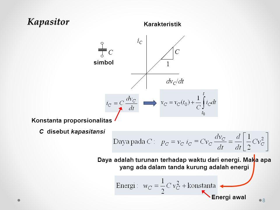 Kapasitor C simbol Konstanta proporsionalitas C disebut kapasitansi Daya adalah turunan terhadap waktu dari energi. Maka apa yang ada dalam tanda kuru