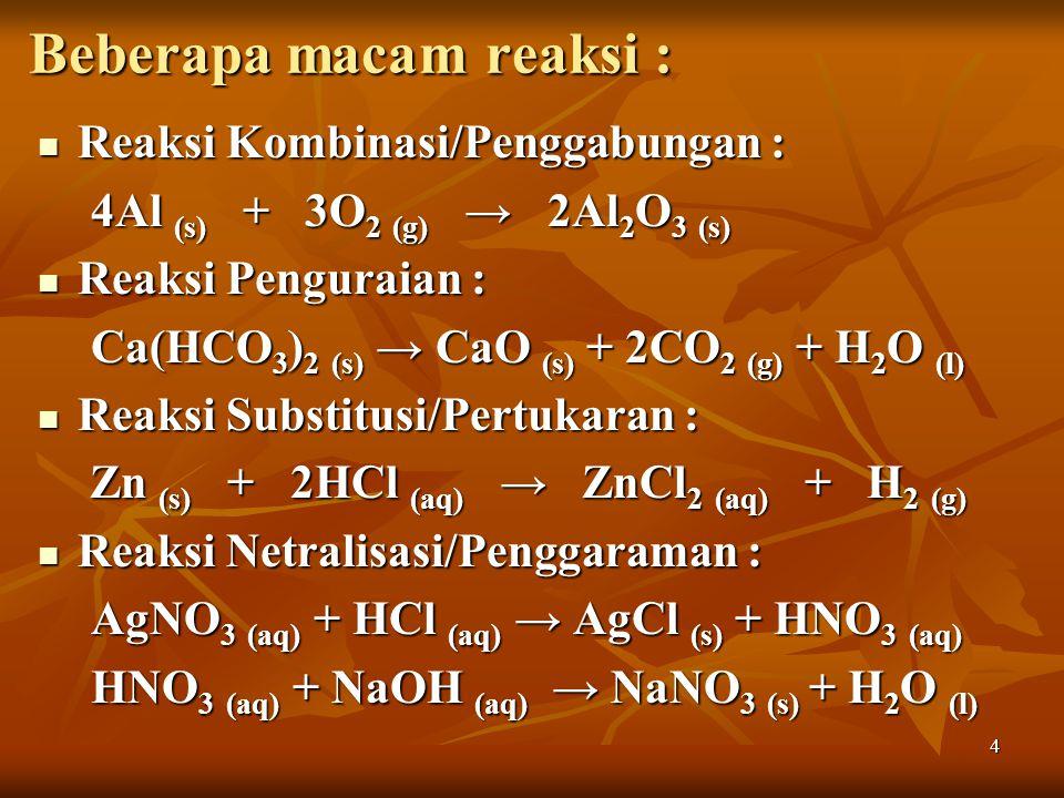 4 Beberapa macam reaksi : Reaksi Kombinasi/Penggabungan : Reaksi Kombinasi/Penggabungan : 4Al (s) + 3O 2 (g) → 2Al 2 O 3 (s) Reaksi Penguraian : Reaksi Penguraian : Ca(HCO 3 ) 2 (s) → CaO (s) + 2CO 2 (g) + H 2 O (l) Reaksi Substitusi/Pertukaran : Reaksi Substitusi/Pertukaran : Zn (s) + 2HCl (aq) → ZnCl 2 (aq) + H 2 (g) Zn (s) + 2HCl (aq) → ZnCl 2 (aq) + H 2 (g) Reaksi Netralisasi/Penggaraman : Reaksi Netralisasi/Penggaraman : AgNO 3 (aq) + HCl (aq) → AgCl (s) + HNO 3 (aq) HNO 3 (aq) + NaOH (aq) → NaNO 3 (s) + H 2 O (l)