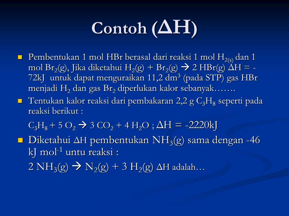 Contoh ( ΔH ) Pembentukan 1 mol HBr berasal dari reaksi 1 mol H 2(s) dan 1 mol Br 2 (g), Jika diketahui H 2 (g) + Br 2 (g)  2 HBr(g) ΔH = - 72kJ untuk dapat menguraikan 11,2 dm 3 (pada STP) gas HBr menjadi H 2 dan gas Br 2 diperlukan kalor sebanyak…….