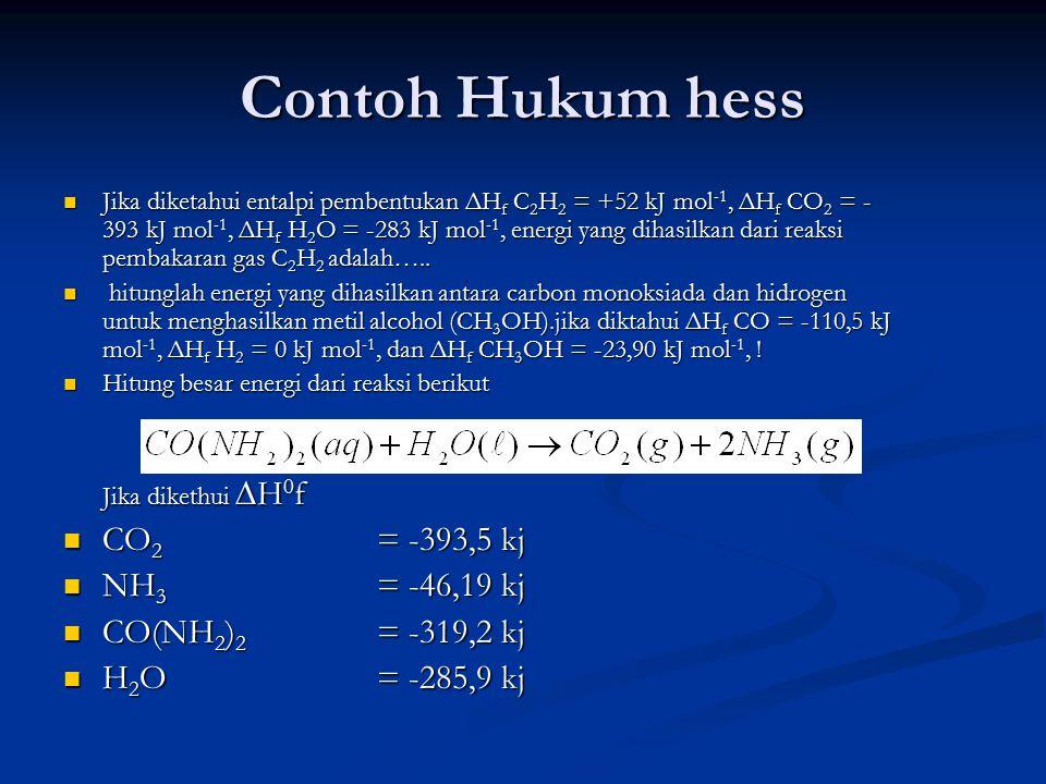 Contoh Hukum hess Jika diketahui entalpi pembentukan ΔH f C 2 H 2 = +52 kJ mol -1, ΔH f CO 2 = - 393 kJ mol -1, ΔH f H 2 O = -283 kJ mol -1, energi yang dihasilkan dari reaksi pembakaran gas C 2 H 2 adalah…..