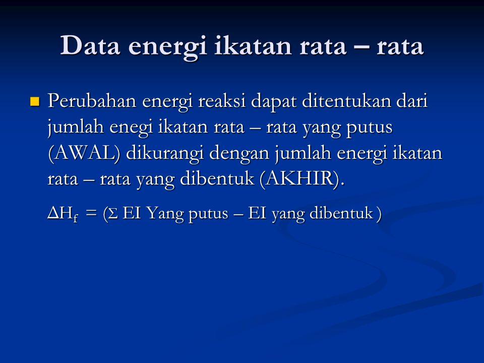 Data energi ikatan rata – rata Perubahan energi reaksi dapat ditentukan dari jumlah enegi ikatan rata – rata yang putus (AWAL) dikurangi dengan jumlah energi ikatan rata – rata yang dibentuk (AKHIR).