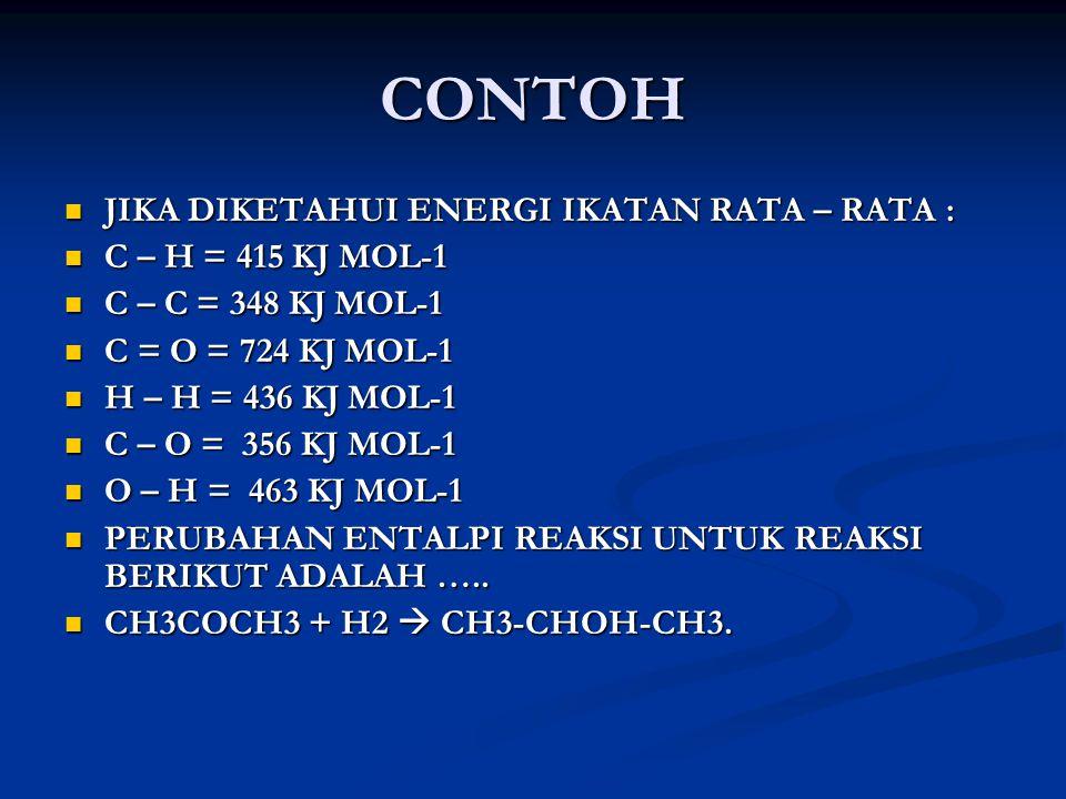 CONTOH JIKA DIKETAHUI ENERGI IKATAN RATA – RATA : JIKA DIKETAHUI ENERGI IKATAN RATA – RATA : C – H = 415 KJ MOL-1 C – H = 415 KJ MOL-1 C – C = 348 KJ MOL-1 C – C = 348 KJ MOL-1 C = O = 724 KJ MOL-1 C = O = 724 KJ MOL-1 H – H = 436 KJ MOL-1 H – H = 436 KJ MOL-1 C – O = 356 KJ MOL-1 C – O = 356 KJ MOL-1 O – H = 463 KJ MOL-1 O – H = 463 KJ MOL-1 PERUBAHAN ENTALPI REAKSI UNTUK REAKSI BERIKUT ADALAH …..