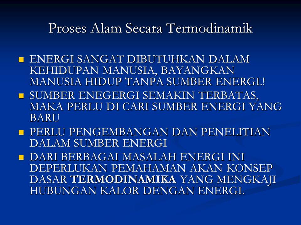 Proses Alam Secara Termodinamik ENERGI SANGAT DIBUTUHKAN DALAM KEHIDUPAN MANUSIA, BAYANGKAN MANUSIA HIDUP TANPA SUMBER ENERGI..