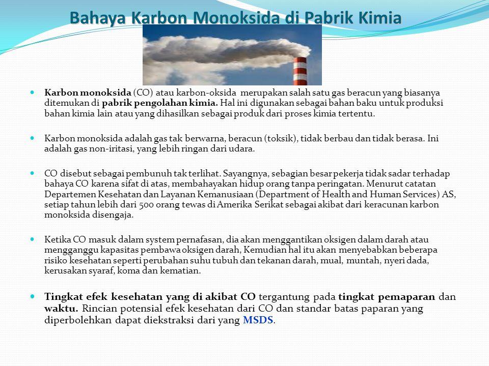 Bahaya Karbon Monoksida di Pabrik Kimia Karbon monoksida (CO) atau karbon-oksida merupakan salah satu gas beracun yang biasanya ditemukan di pabrik pe