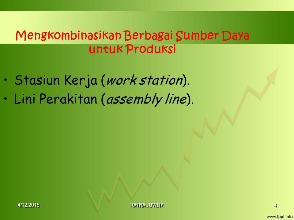 4/12/2015 RATNA JUWITA 4 4 Mengkombinasikan Berbagai Sumber Daya untuk Produksi Stasiun Kerja (work station). Lini Perakitan (assembly line).