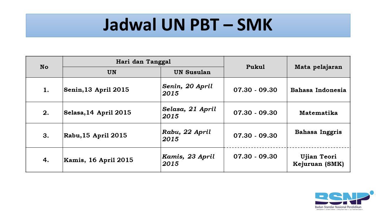 SMK Jadwal UN PBT – SMK No Hari dan Tanggal PukulMata pelajaran UNUN Susulan 1.Senin,13 April 2015 Senin, 20 April 2015 07.30 - 09.30Bahasa Indonesia