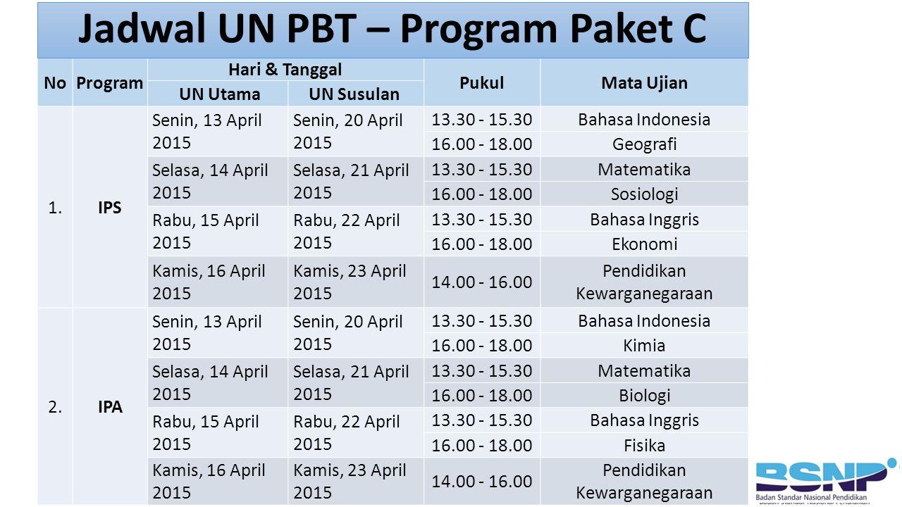 NoProgram Hari & Tanggal PukulMata Ujian UN UtamaUN Susulan 1.IPS Senin, 13 April 2015 Senin, 20 April 2015 13.30 - 15.30Bahasa Indonesia 16.00 - 18.0