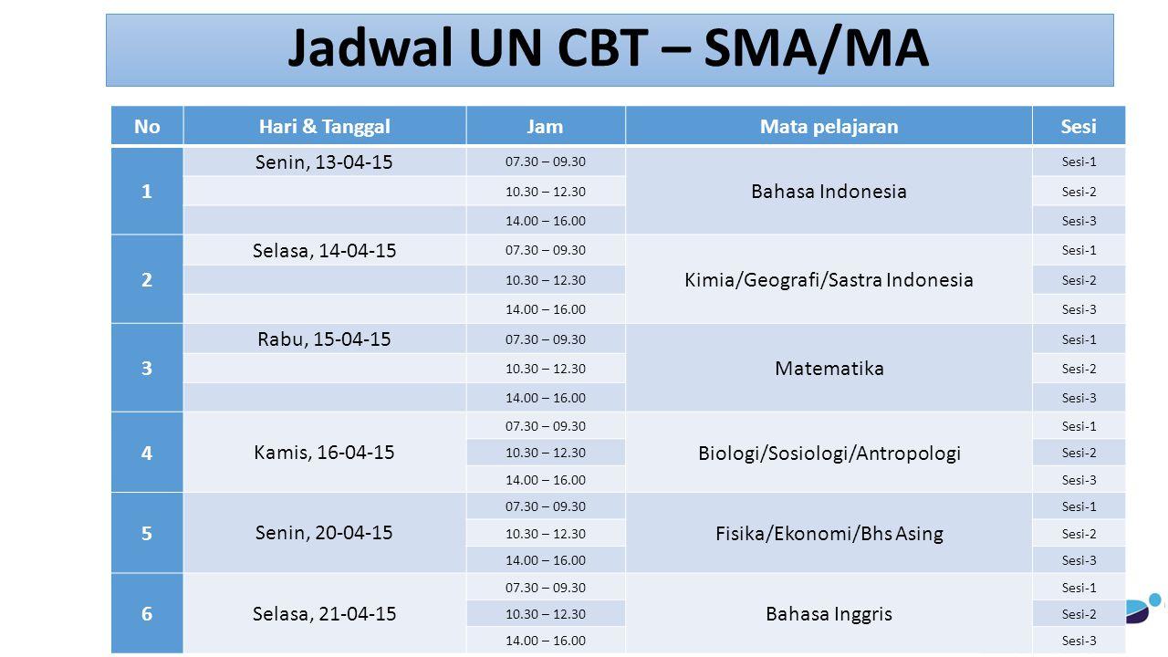 Jadwal UN CBT – SMA/MA NoHari & TanggalJamMata pelajaranSesi 1 Senin, 13-04-15 07.30 – 09.30 Bahasa Indonesia Sesi-1 10.30 – 12.30Sesi-2 14.00 – 16.00Sesi-3 2 Selasa, 14-04-15 07.30 – 09.30 Kimia/Geografi/Sastra Indonesia Sesi-1 10.30 – 12.30Sesi-2 14.00 – 16.00Sesi-3 3 Rabu, 15-04-15 07.30 – 09.30 Matematika Sesi-1 10.30 – 12.30Sesi-2 14.00 – 16.00Sesi-3 4 Kamis, 16-04-15 07.30 – 09.30 Biologi/Sosiologi/Antropologi Sesi-1 10.30 – 12.30Sesi-2 14.00 – 16.00Sesi-3 5 Senin, 20-04-15 07.30 – 09.30 Fisika/Ekonomi/Bhs Asing Sesi-1 10.30 – 12.30Sesi-2 14.00 – 16.00Sesi-3 6 Selasa, 21-04-15 07.30 – 09.30 Bahasa Inggris Sesi-1 10.30 – 12.30Sesi-2 14.00 – 16.00Sesi-3