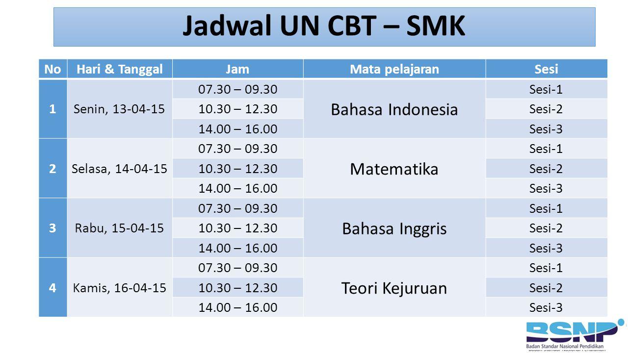NoHari & TanggalJamMata pelajaranSesi 1Senin, 13-04-15 07.30 – 09.30 Bahasa Indonesia Sesi-1 10.30 – 12.30Sesi-2 14.00 – 16.00Sesi-3 2Selasa, 14-04-15