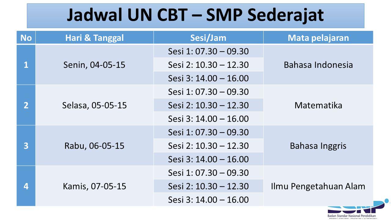 Jadwal UN CBT – SMP Sederajat NoHari & TanggalSesi/JamMata pelajaran 1Senin, 04-05-15 Sesi 1: 07.30 – 09.30 Bahasa Indonesia Sesi 2: 10.30 – 12.30 Sesi 3: 14.00 – 16.00 2Selasa, 05-05-15 Sesi 1: 07.30 – 09.30 Matematika Sesi 2: 10.30 – 12.30 Sesi 3: 14.00 – 16.00 3Rabu, 06-05-15 Sesi 1: 07.30 – 09.30 Bahasa Inggris Sesi 2: 10.30 – 12.30 Sesi 3: 14.00 – 16.00 4Kamis, 07-05-15 Sesi 1: 07.30 – 09.30 Ilmu Pengetahuan Alam Sesi 2: 10.30 – 12.30 Sesi 3: 14.00 – 16.00