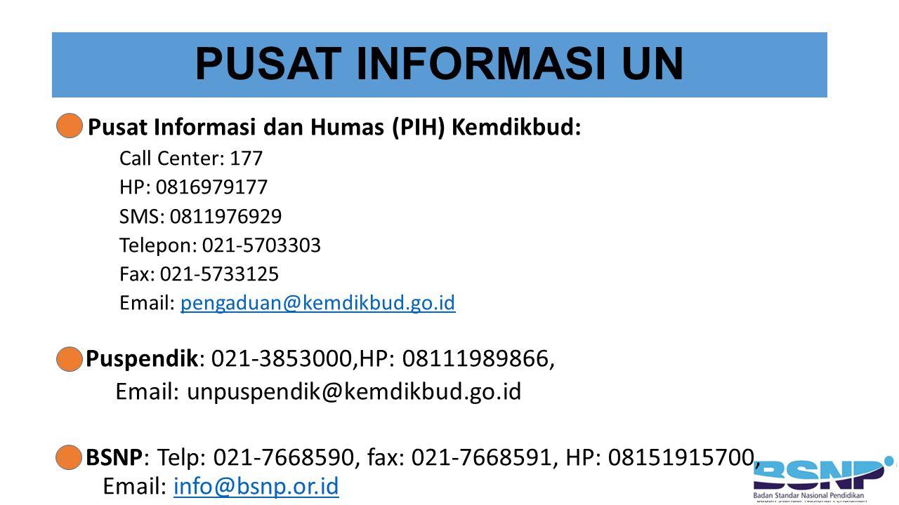 PUSAT INFORMASI UN Pusat Informasi dan Humas (PIH) Kemdikbud: Call Center: 177 HP: 0816979177 SMS: 0811976929 Telepon: 021-5703303 Fax: 021-5733125 Email: pengaduan@kemdikbud.go.idpengaduan@kemdikbud.go.id Puspendik: 021-3853000,HP: 08111989866, Email: unpuspendik@kemdikbud.go.id BSNP: Telp: 021-7668590, fax: 021-7668591, HP: 08151915700, Email: info@bsnp.or.idinfo@bsnp.or.id