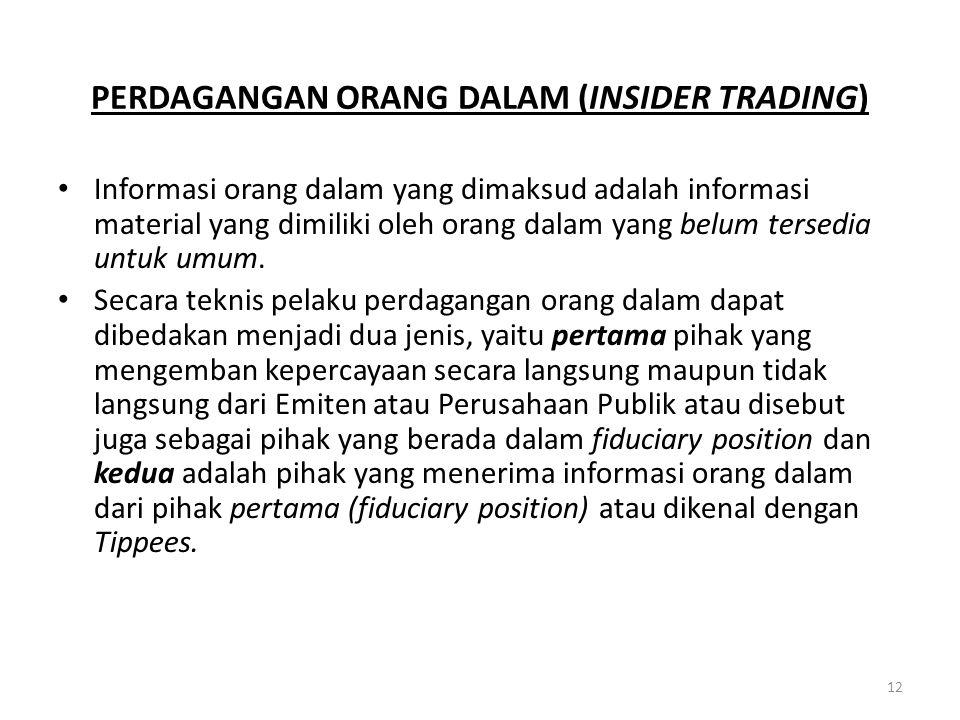 PERDAGANGAN ORANG DALAM (INSIDER TRADING) Informasi orang dalam yang dimaksud adalah informasi material yang dimiliki oleh orang dalam yang belum ters